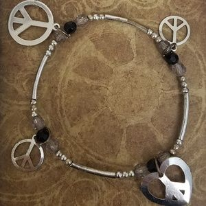 Jewelry - Peace Sign Symbol Elastic Charm Bracelet